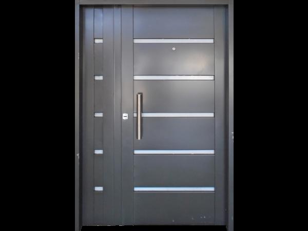 Puerta doble chapa inyectada puerta y media con apliques for Puertas de acero inoxidable